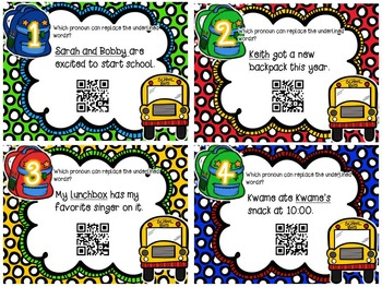 Back to School Pronoun Task Cards (with QR Code Option)