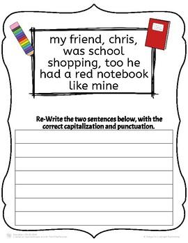 Back to School Punctuation Practice