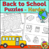 Back to School Puzzle Activities – Harder Version - Crossword, Word Search etc