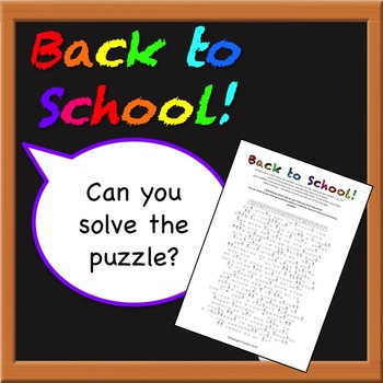 Back to School! Puzzle Cryptogram.