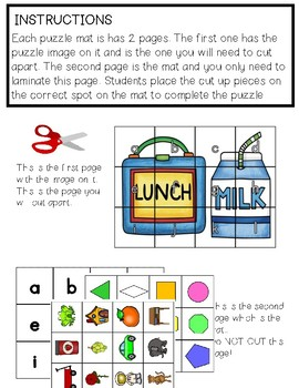 Back to School Puzzle Mats *An Easy Prep Work Task*