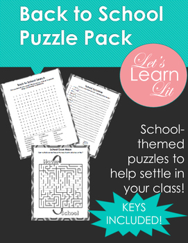 Back to School Puzzle Pack
