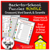 Back to School Puzzles (BUNDLE!) Word Search, Crossword Puzzle & Word Scramble!