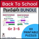 Back-to-School Puzzles Collection   100+ UNIQUE Puzzles Bundle   Gr 3-6