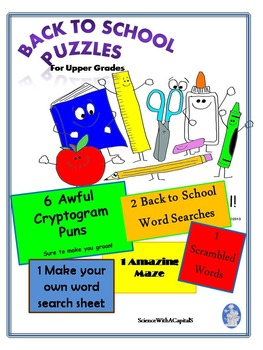 Back to School Puzzles for Upper Grades