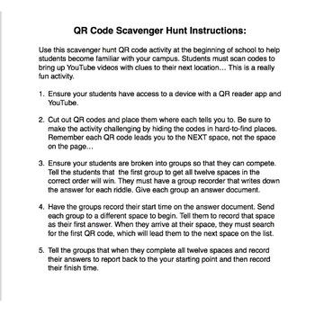Back to School QR Code Scavenger Hunt