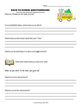 Back to School QUESTIONNAIRE Gr.5-12