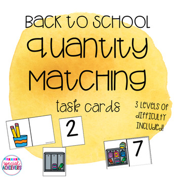 Back to School Math Skills- Quantity Matching