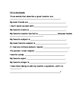 Back to School Questionnaire (Student Version)