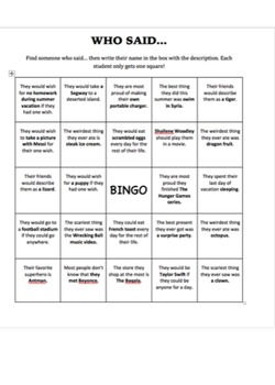 Back to School Questionnaire and Bingo