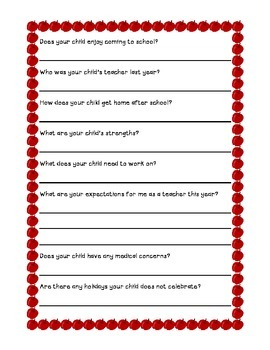 Back to School Questionnaire for Parents