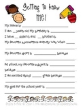 Back to School Questionnaires