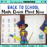 Back to School | Quick Print Now Grade 1
