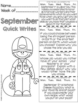 Back to School Quick Writes Writing Prompts for Upper Elementary