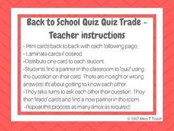 Quiz Quiz Trade Back to School