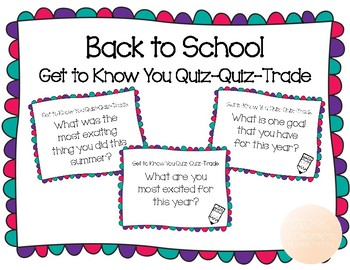 Back to School Quiz-Quiz-Trade Cards