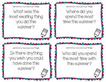Back to School Quiz-Quiz-Trade Cards