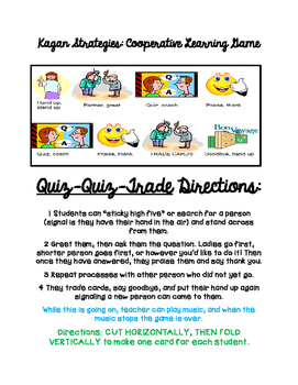 Back to School Quiz Quiz Trade Cooperative Learning Kagan Icebreaker Game