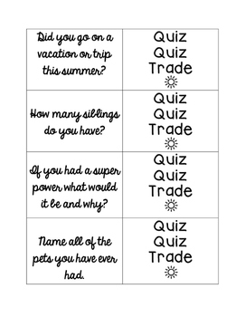 Back to School Quiz Quiz Trade Cooperative Learning Kagan