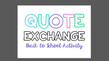 Back to School Quote Exchange Activity