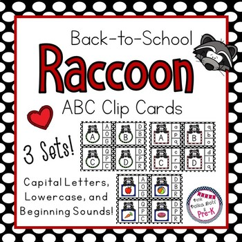 Back-to-School Raccoon Capital / Lowercase Letter and Beginning Sound Clip Cards