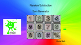 Back to School. Random Subtraction Sum Generator. Mental Math