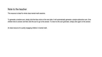 Back to School. Random Subtraction Sum Generator. Mental Math