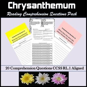 Back to School Read Aloud Chrysanthemum Common Core Aligned RL.1