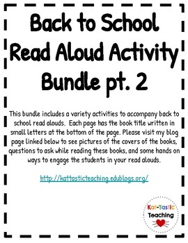 Back to School Read Aloud Documents pt. 2