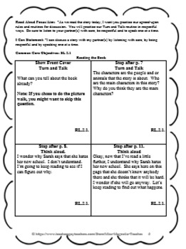 Back to School Read Aloud Lesson Plan First Day Jitters