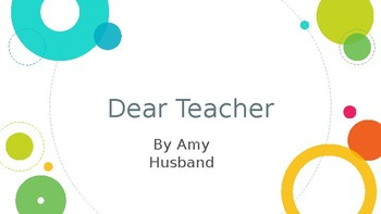 Back to School Read Aloud and Writing Activity: Dear Teacher by Amy Husband
