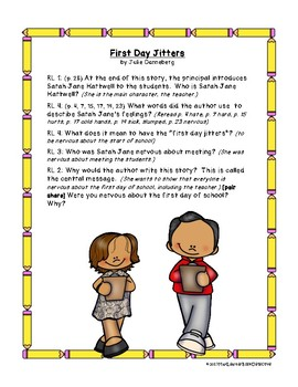 Back to School Read Alouds: Text-Dependent Questions (set 1 of 2)