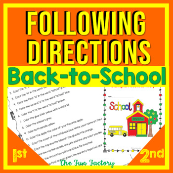 Back to School Read and Follow Directions for August and September