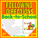 Read and Follow Directions Activities Back to School 1st & 2nd Grades