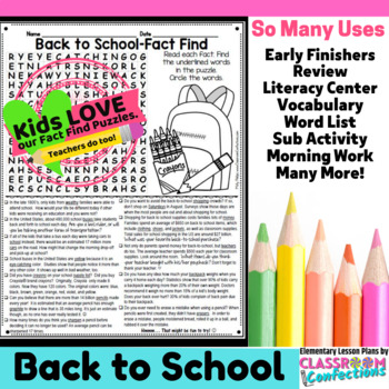 Back to School Reading Activity: Fact Find Word Search (non-fiction, reading)