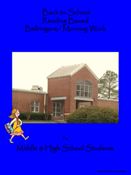 Back to School Reading Based Bellringers for Middle and High School Students