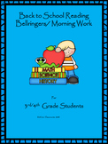 Back to School Reading Bellringers for 3rd & 4th Graders