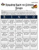 Back to School Reading Bingo Activity