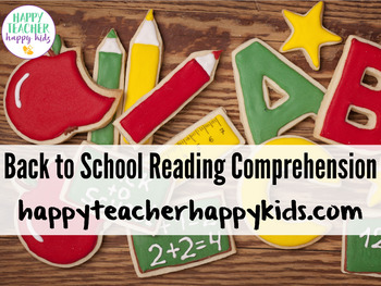 Back to School Reading Comprehension Activities