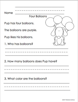 Reading Comprehension Passages and questions Grade 1