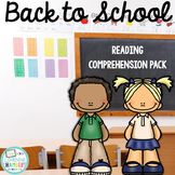 Back to School Reading Comprehension Pack: Main Idea, Comprehension Questions
