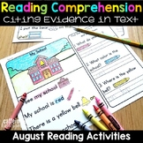 Back to School Reading Comprehension Passages