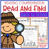 Back to School Reading Comprehension - Read and Find