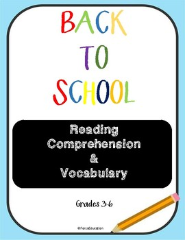 Back to School Reading Comprehension and vocabulary practice
