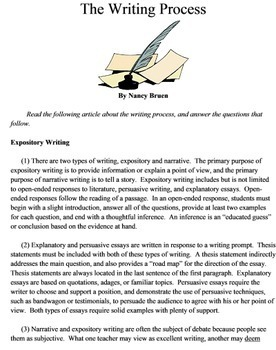Back to School Pretest Reading Informational Grades 6 - 8 CCSS