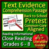 Text Evidence Comprehension Passage Back to School Pretest for Close Reading