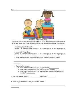 Back to School Reading Interest Survey