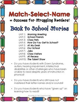 Back to School Reading Intervention MATCH-SELECT-NAME Down Syndrome, Sp.Ed
