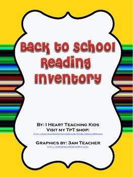Back to School Reading Inventory