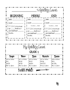 Back to School Reading Level Progress Tracker Grades 1 and 2